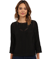 Rebecca Taylor - Long Sleeve Silk & Lace Pintuck Top