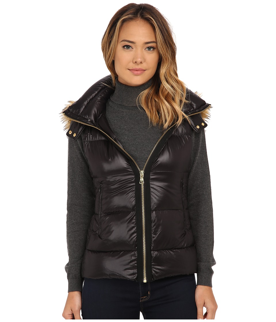 Vince Camuto - Light Weight Down Vest with Faux Fur Trim Hood J1741 (Black) Women