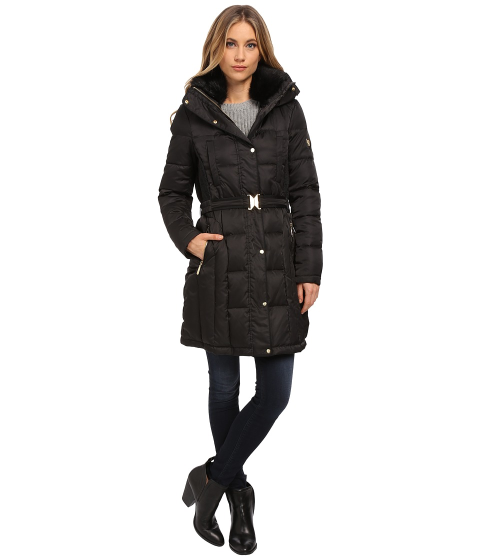 Vince Camuto - Belted Down with Faux Fur Trim Collar J8601 (Black) Women