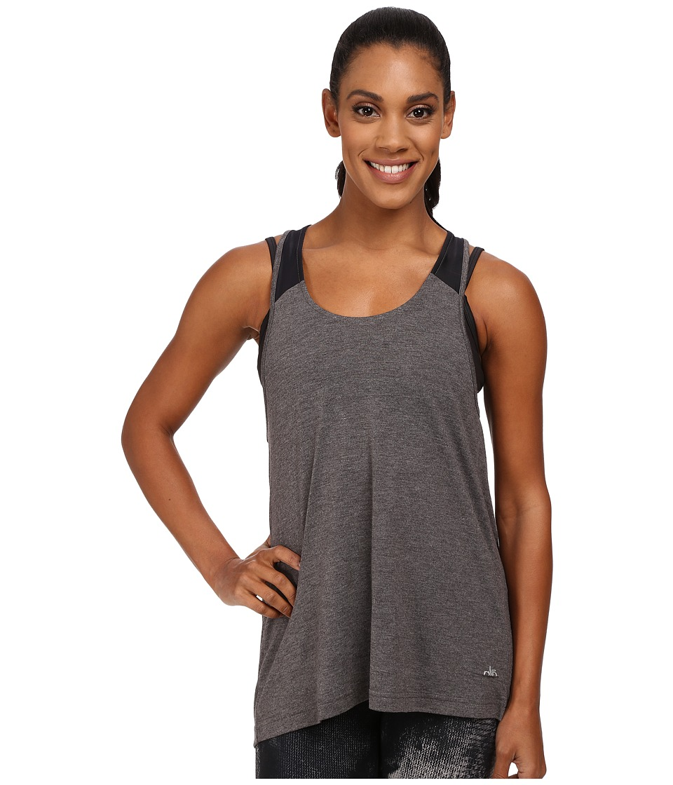 ALO Vapor Tank Dark Heather Grey/Black Womens Sleeveless
