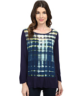 TWO by Vince Camuto - Grid Reflections Mix Media Splitback Tee