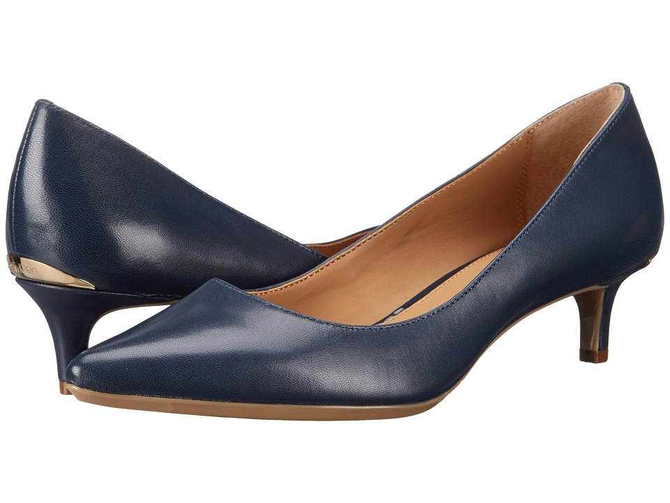 Calvin Klein Gabrianna Pump (Navy Kid Skin) 1-2 inch heel Shoes