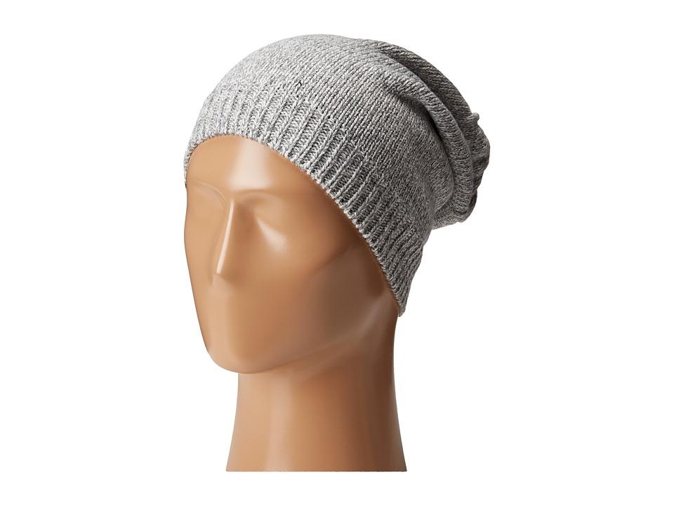 Plush Fleece Lined Knit Marled Hat Heather Grey Beanies