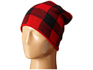 Plush Fleece Lined Plaid Beanie (Black/Red)