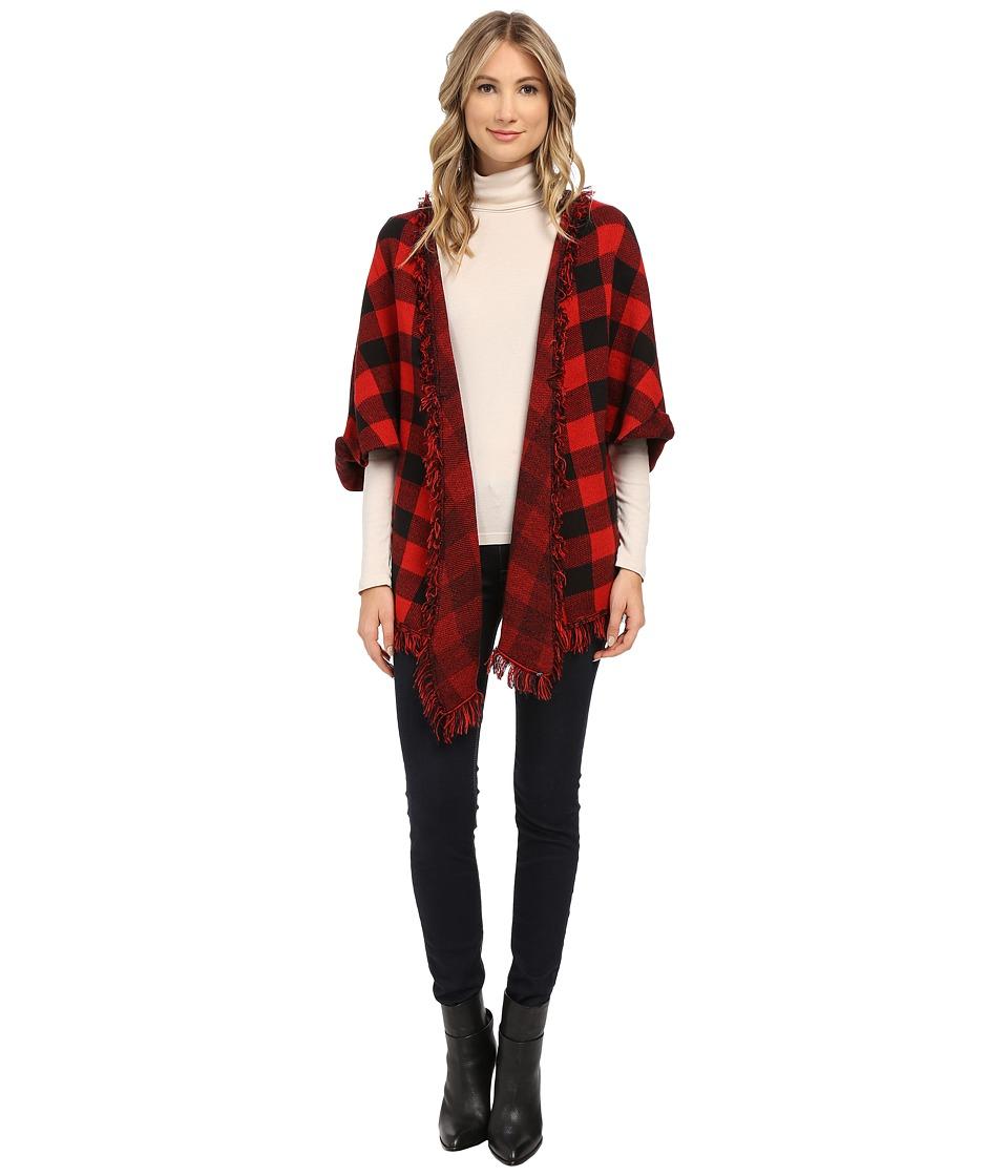 Plush Plaid Knit Poncho Black/Red Womens Sweater