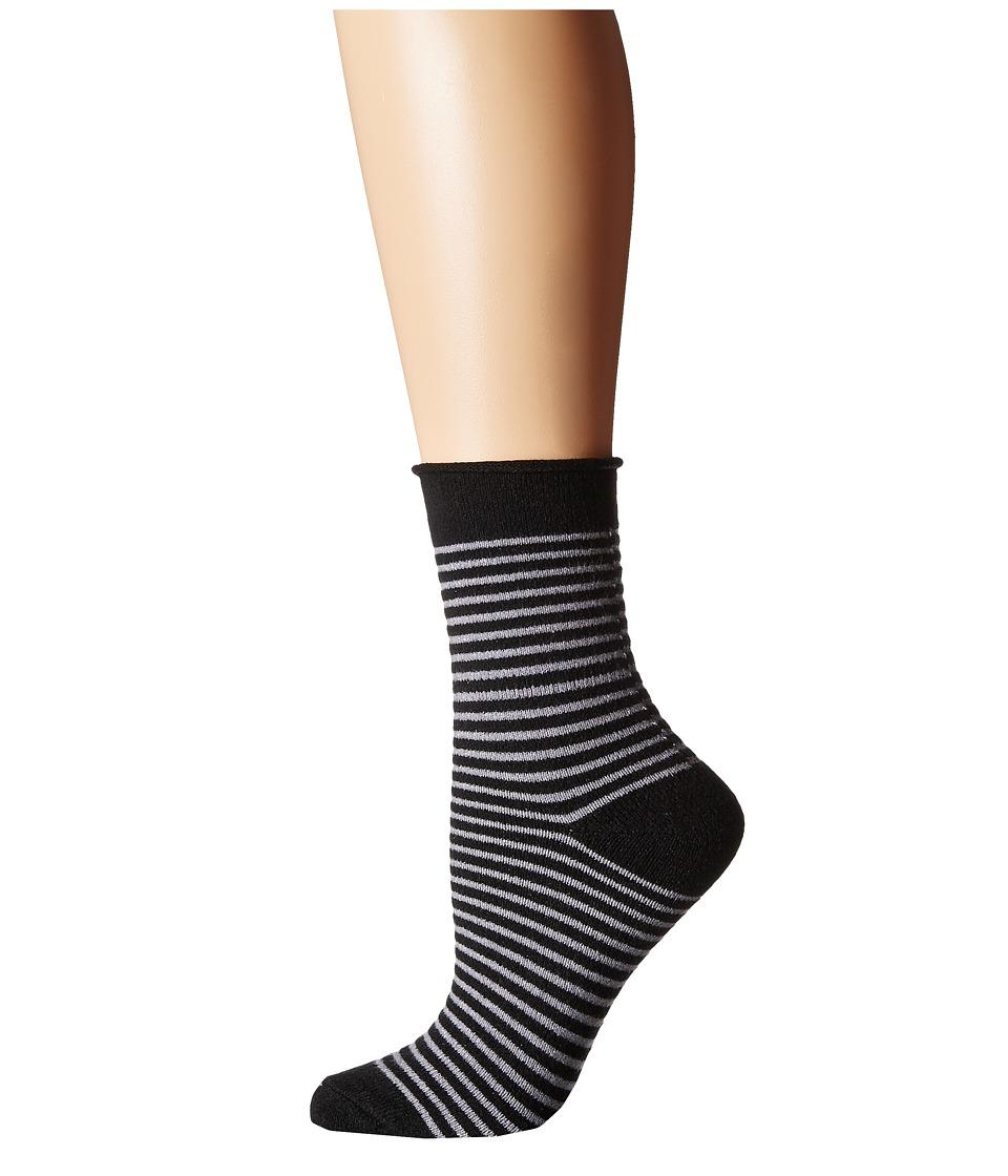 Plush - Thin Rolled Fleece Socks (Charcoal Stripe) Women'...