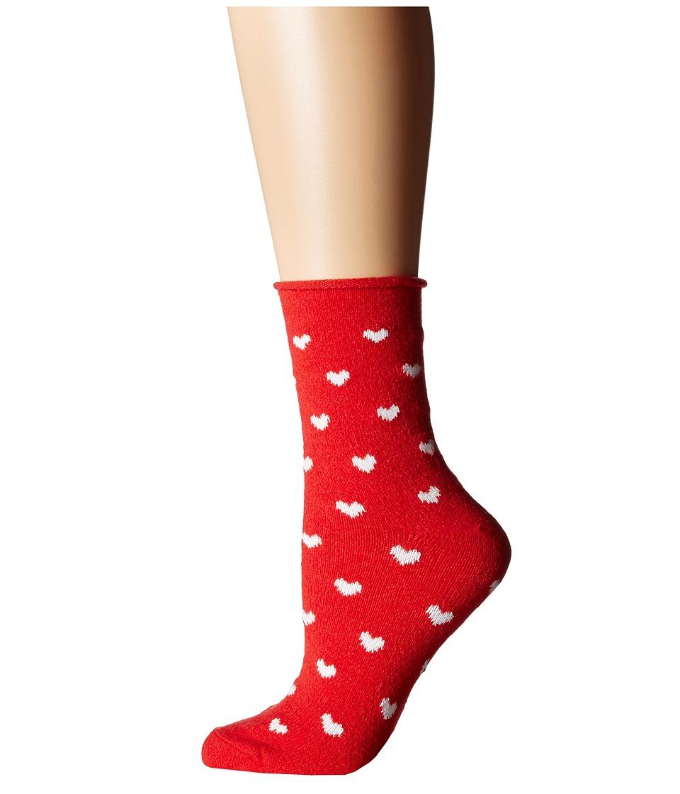 Plush - Thin Rolled Fleece Socks (Red Heart) Women's Crew...