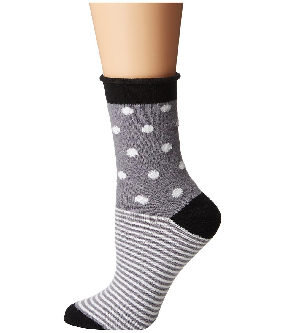 Plush - Thin Rolled Fleece Socks (Charcoal Multi) Women's...