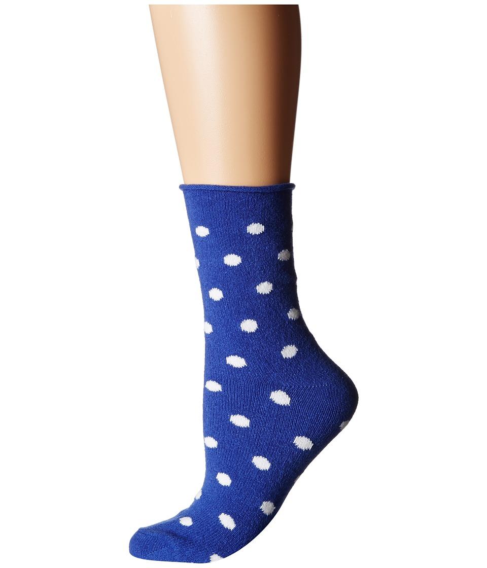 Plush Thin Rolled Fleece Socks Cobalt Dot Womens Crew Cut Socks Shoes