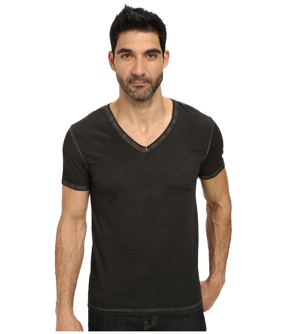 BOSS Orange Toulouse Fashion Fit Garment Dyed Jersey V Neck Tee Black Mens Short Sleeve Pullover