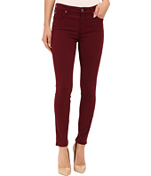 7 For All Mankind - Mid Rise Skinny with Contour Waistband in Dark Ruby Red