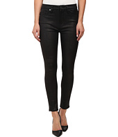7 For All Mankind - High Waist Ankle Knee Seam Skinny in Black Leather Like