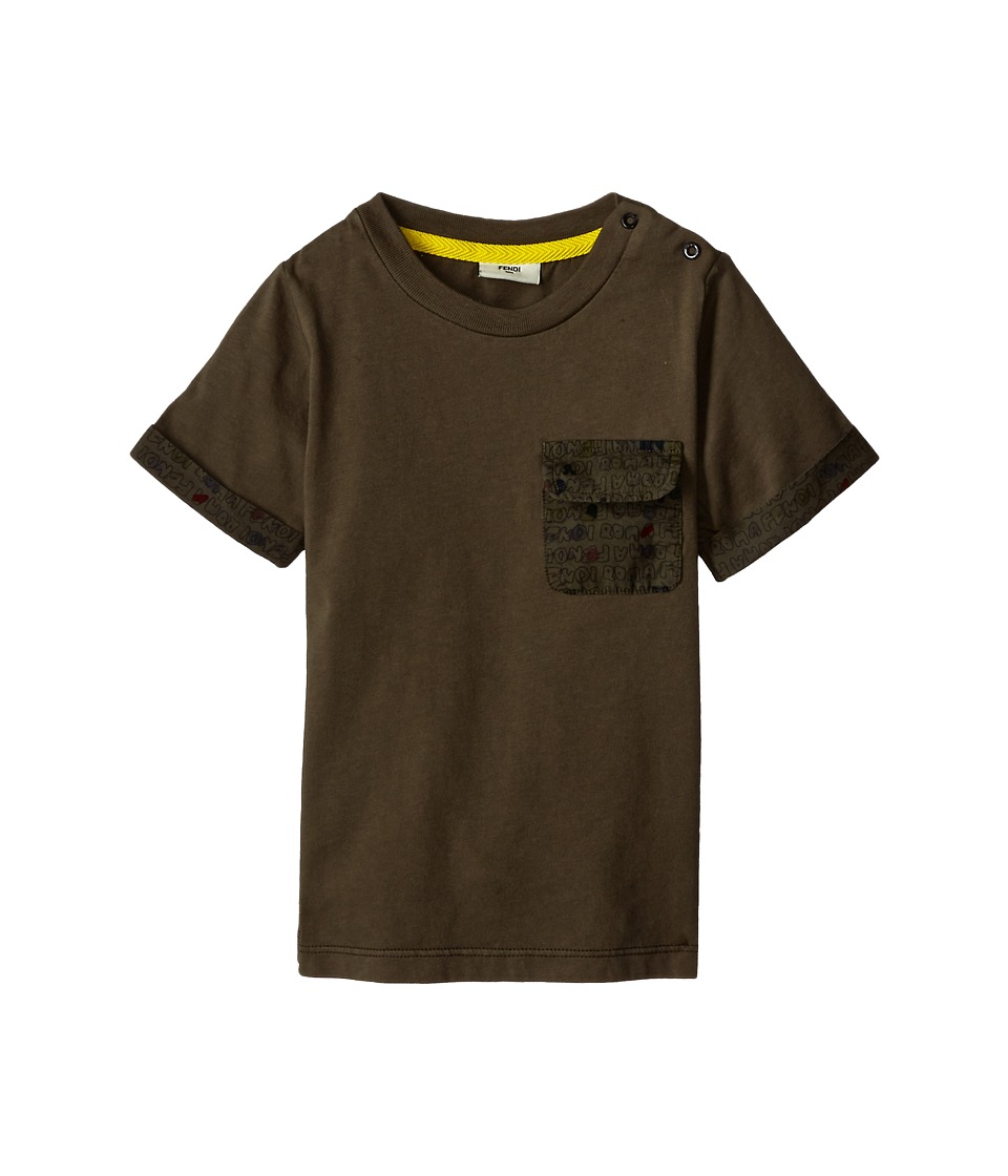 Fendi Kids Shirt w/ Printed Pocket Infant Multi Boys Short Sleeve Pullover