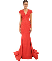Zac Posen - Cap Sleeve V-Neck Mermaid Gown