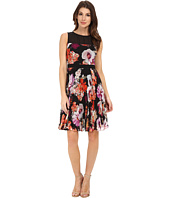 Maggy London - Paint Brush Flower Chiffon Fit and Flare