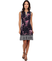 Maggy London - Palm Medallion Printed Scuba Fit and Flare with Border Detail