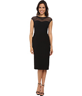 Maggy London - Techno Crepe Sheath with Embellished Illusion Mesh