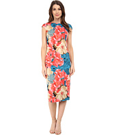 Maggy London - Summer Rose Lightweight Scuba Sheath with Cap Sleeve