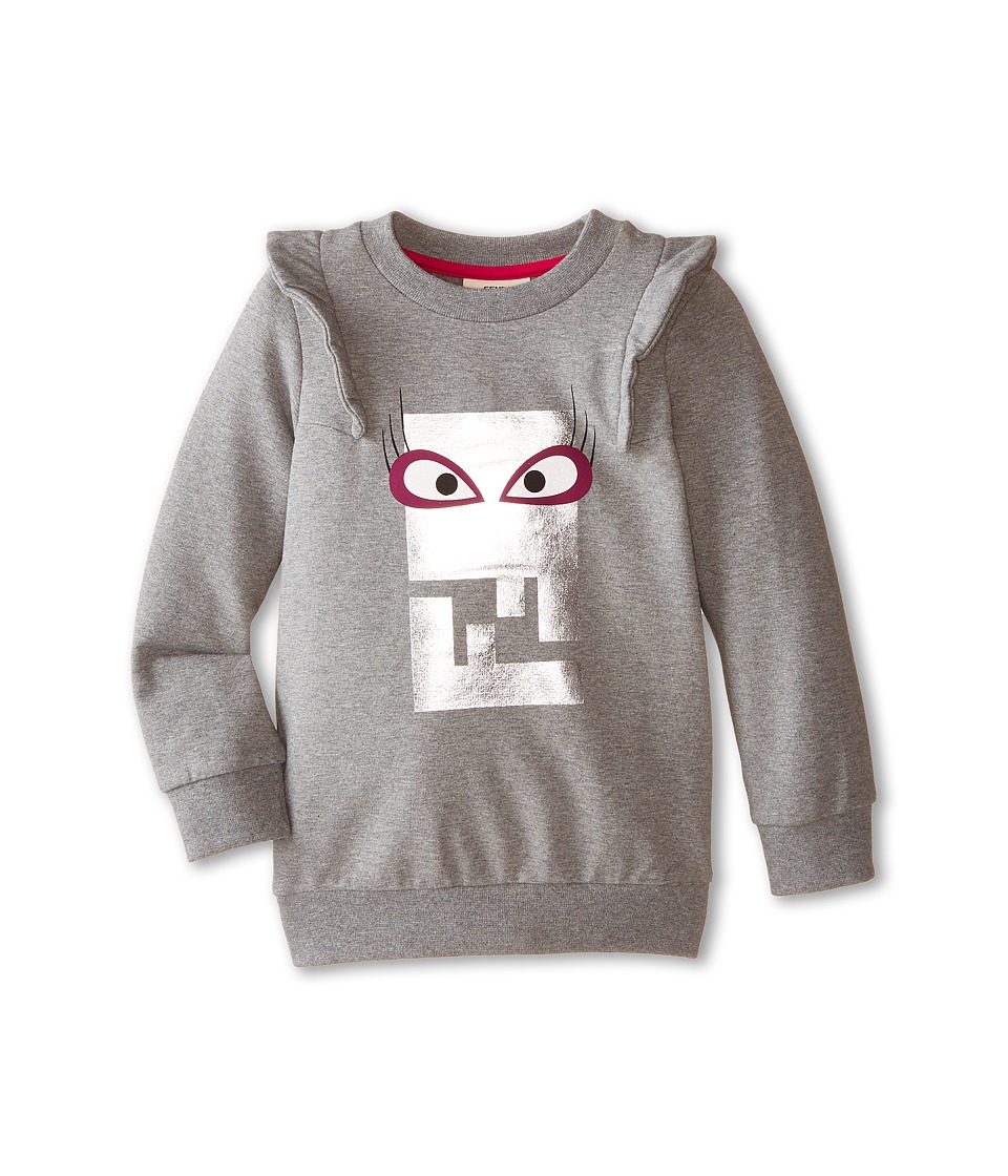 Fendi Kids Logo Sweatshirt Femme Toddler Grey Girls Sweatshirt