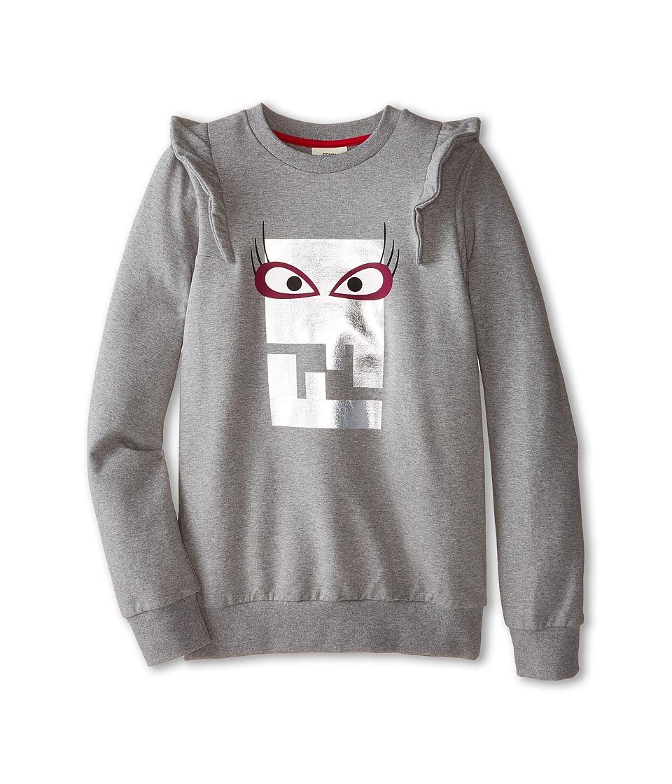 Fendi Kids Logo Sweatshirt Femme Big Kids Grey Girls Sweatshirt