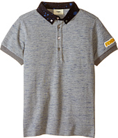Fendi Kids - Short Sleeve Polo Shirt w/ Dots On Collar (Little Kids)
