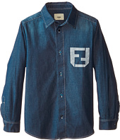 Fendi Kids - Long Sleeve Button Down Shirt Logo (Little Kids)