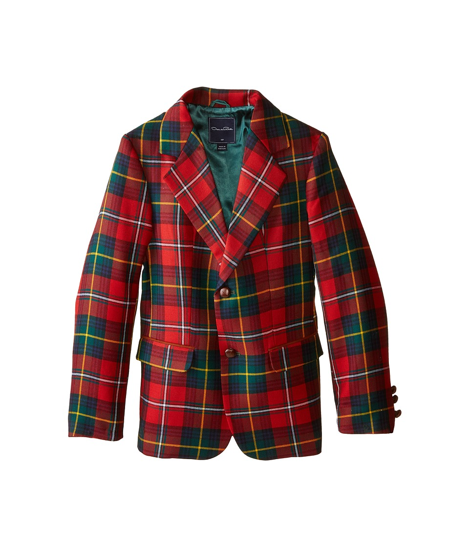 Oscar de la Renta Childrenswear Elbow Patch Plaid Blazer Toddler/Little Kids/Big Kids Barn Red Boys Jacket