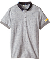 Fendi Kids - Short Sleeve Polo Shirt w/ Dots On Collar (Big Kids)