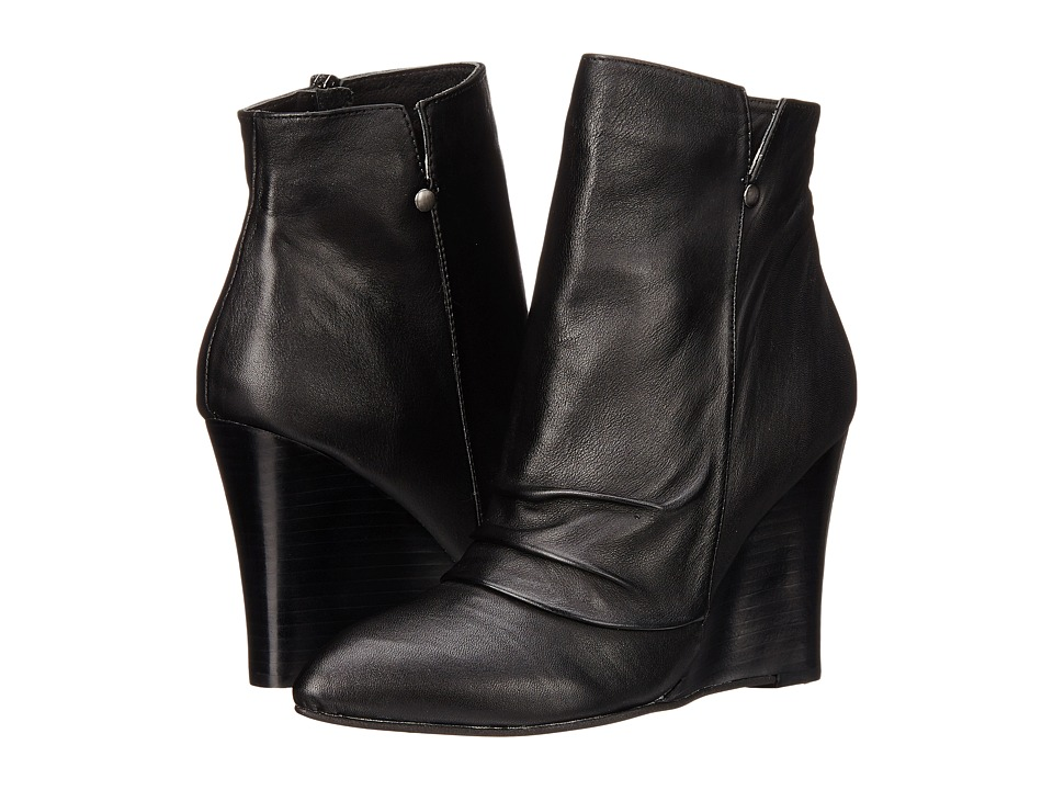 Kristin Cavallari Candyce Wedge Bootie Black Leather Womens Boots