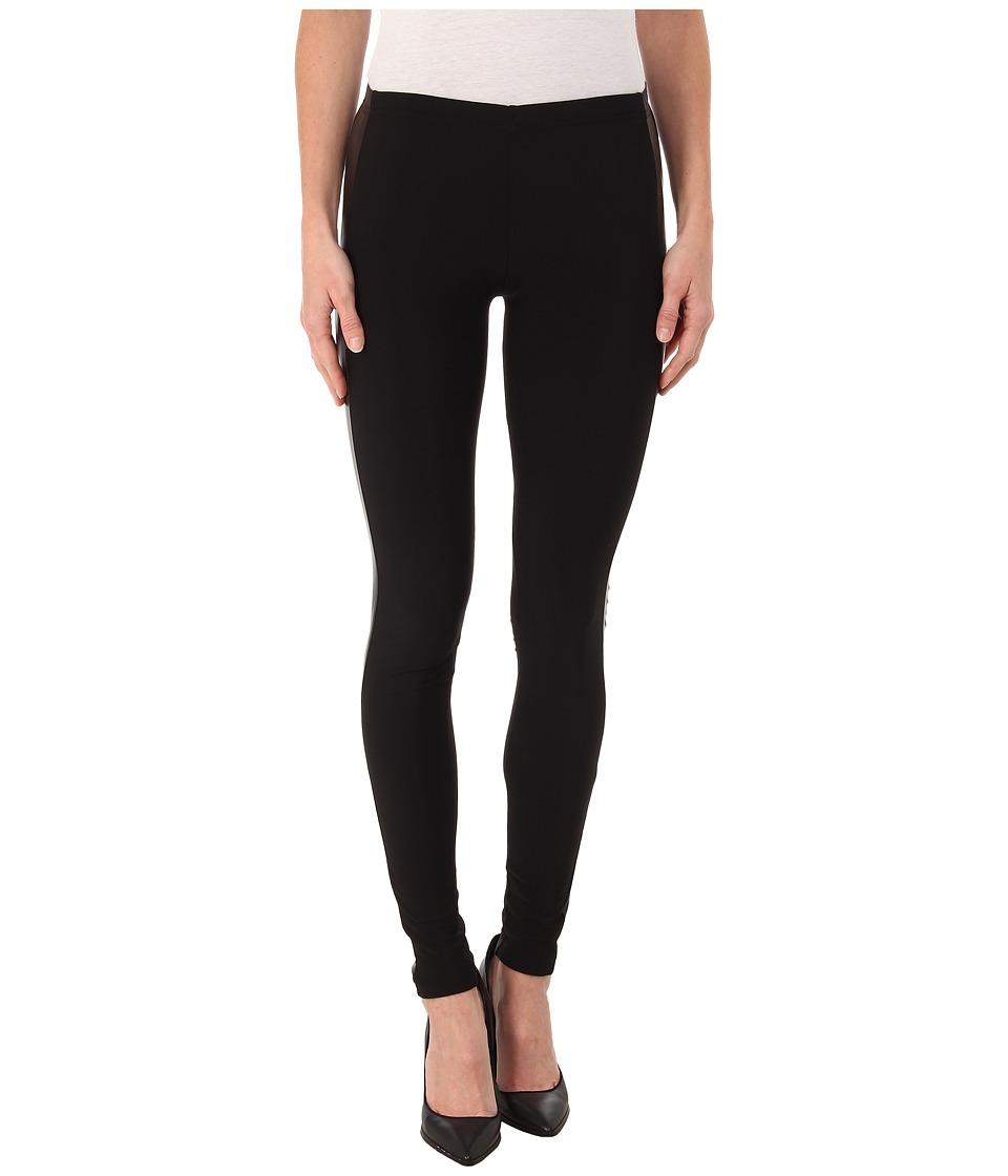 Plush Fleece Lined Faux Leather Tuxedo Leggings Black Womens Clothing