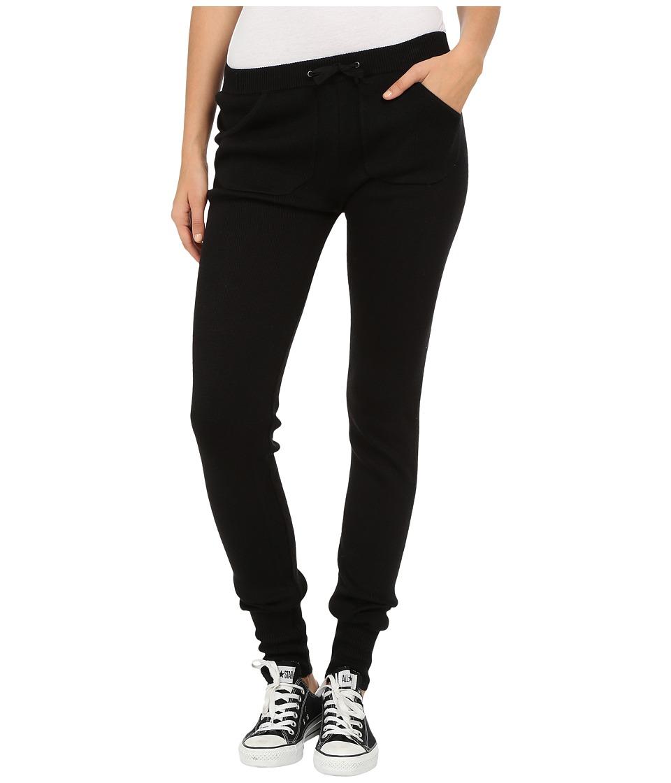 Plush Knit Sweater Leggings Black Womens Clothing