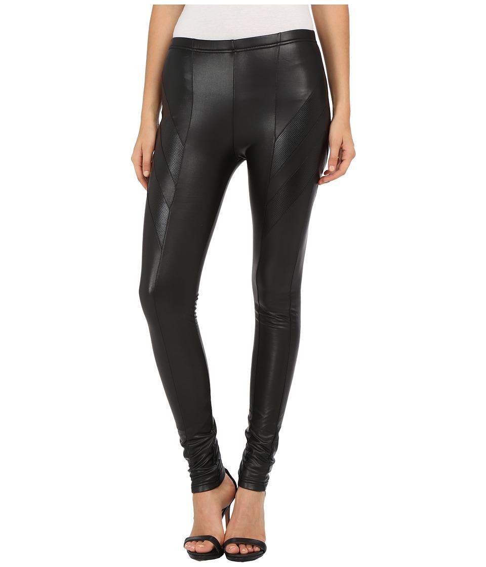Plush Fleece Lined Liquid Moto Leggings Black Womens Clothing