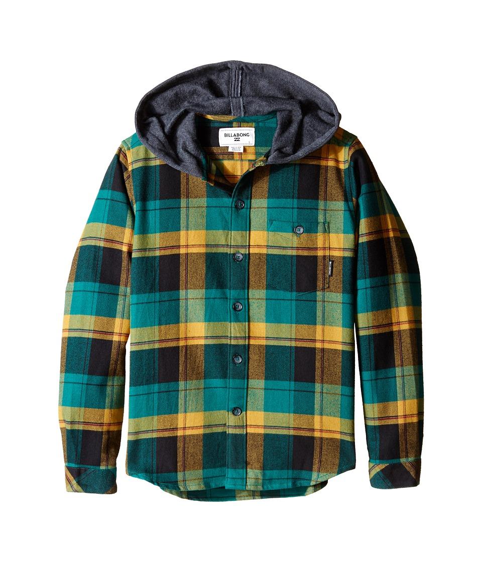 Billabong Kids Venture Hooded Long Sleeve Shirt Big Kids Emerald Boys Clothing