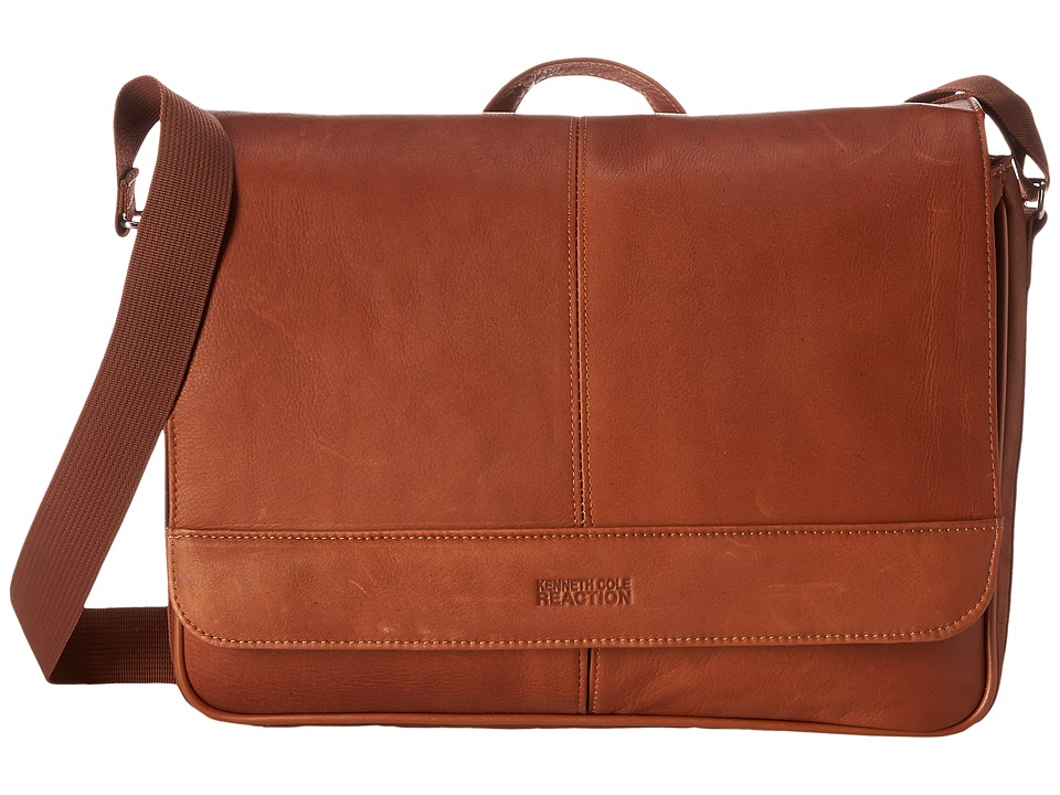 Kenneth Cole Reaction Risky Business Colombian Leather Flapover Messenger Bag (Cognac) Messenger Bags