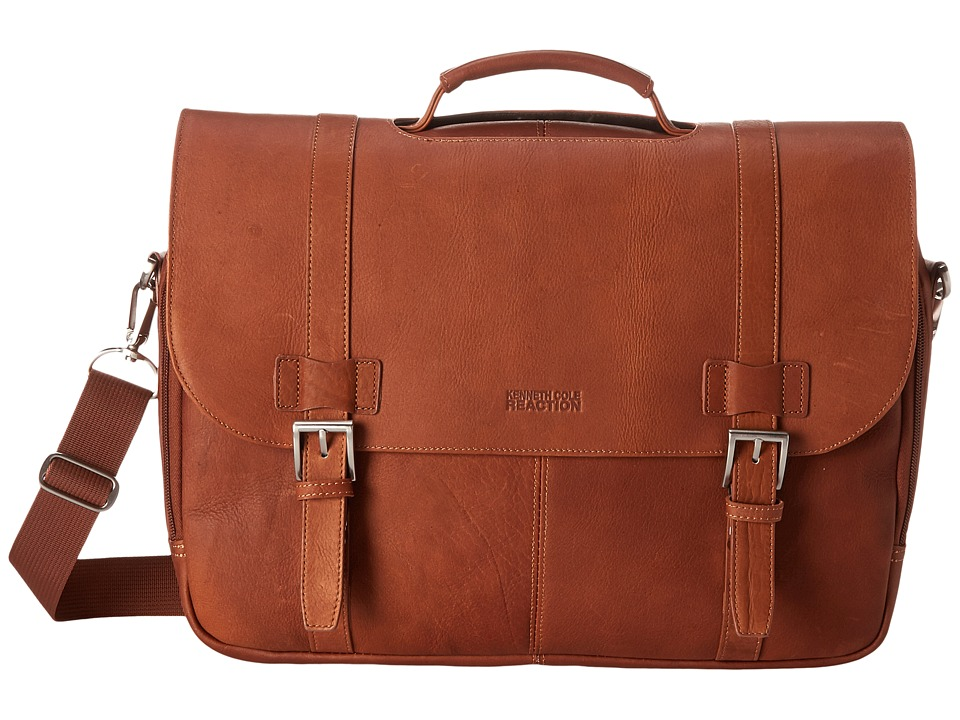 Kenneth Cole Reaction - Show Business Columbian Leather Flapover 15.4 Computer Portfolio (Cognac) Computer Bags