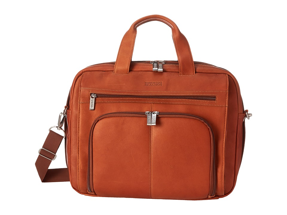 Kenneth Cole Reaction - Out of the Bag - 5 to 6 1/2 Double Gusset Expandable Top Zip Portfolio Computer Case (Cognac) Computer Bags