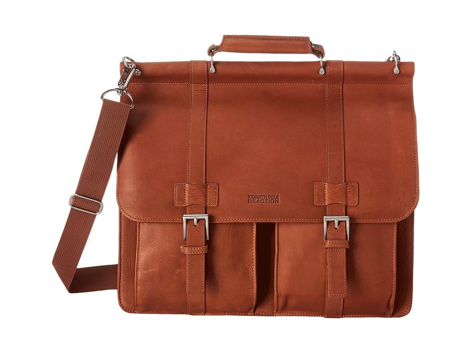 Kenneth Cole Reaction - Colombian Leather - Dowel Rod/Portfolio Computer Case (Cognac) Briefcase Bags