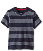Tommy Hilfiger Kids - Jersey Stripe Short Sleeve V-Neck Tee (Toddler/Little Kids)