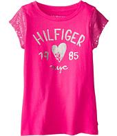 Tommy Hilfiger Kids - Sequin Sleeve Signature Tee (Big Kids)