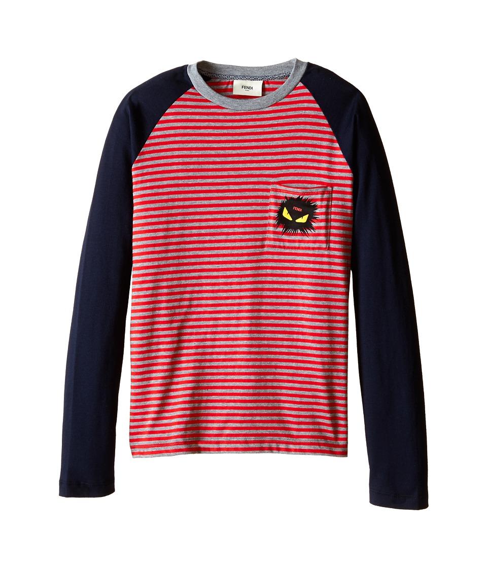 Fendi Kids Long Sleeve Shirt with Stripe Detail Big Kids Red/Blue Boys Long Sleeve Pullover