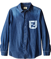 Fendi Kids - Long Sleeve Button Down Shirt Logo (Big Kids)