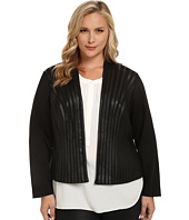 Calvin Klein Plus - Plus Size Open Jacket w/ Faux Leather Tipping