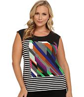 Calvin Klein Plus - Plus Size Mixed Print Cap Sleeve Tee