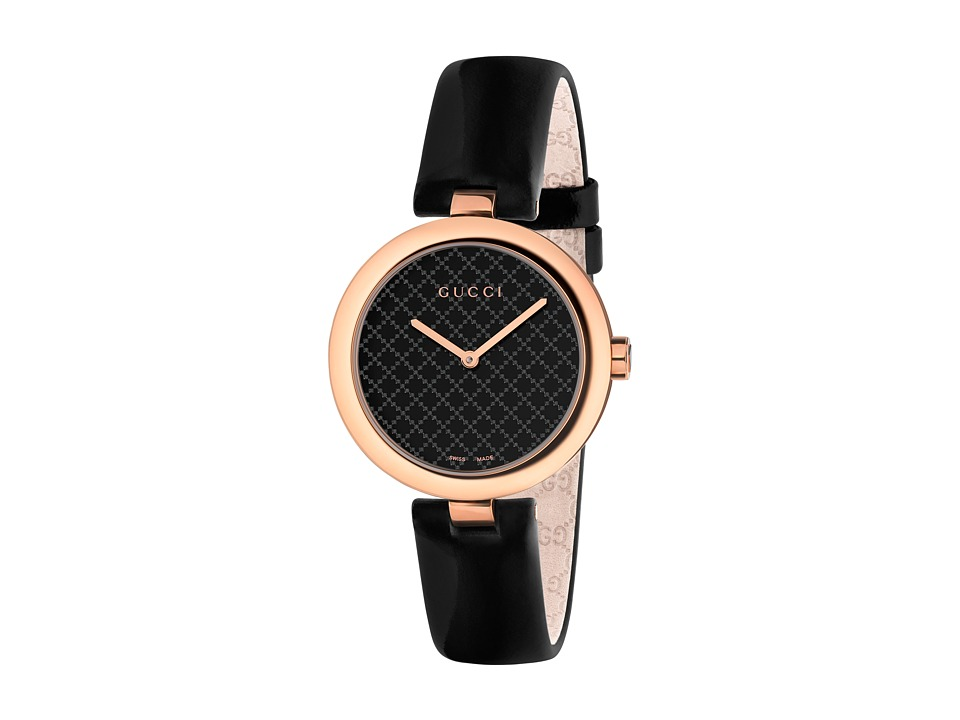 Gucci Diamantissima 32mm Rose/Black Leather Strap Watches