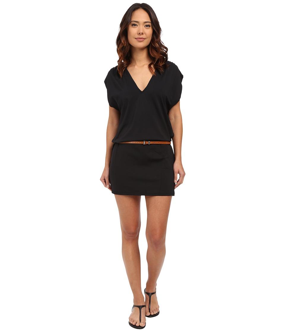 Michael Kors Garden Solids Draped V Neck w/ Belt Cover Up Black Womens Swimwear