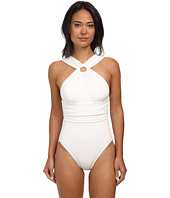Michael Kors - Draped Solids High Neck Shirred Maillot w/ Removable Soft Cups
