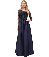 Adrianna Papell - 3/4 Sleeve Bead Bodice Taffeta Gown