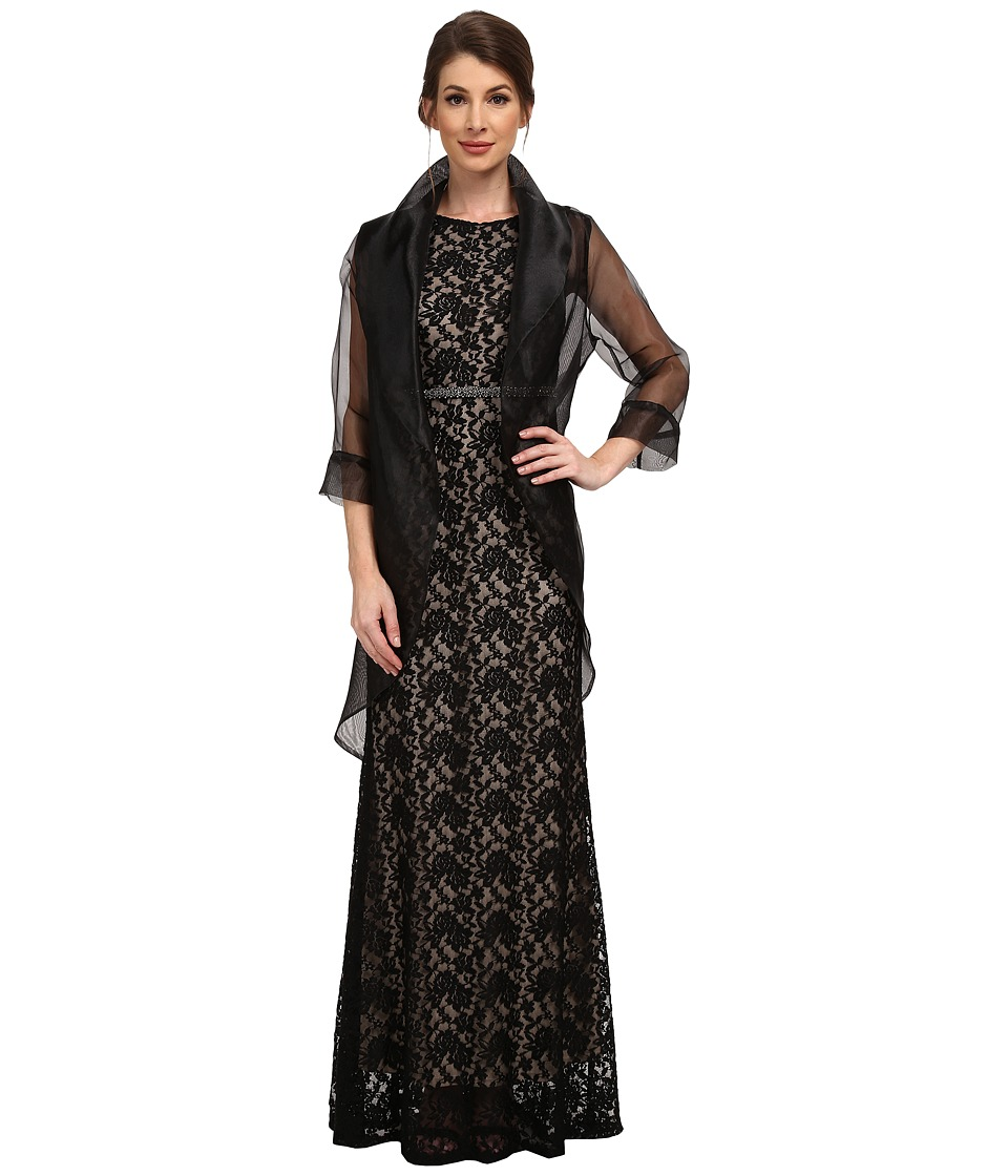 Adrianna Papell - Short Sleeve Organza Wrap Jacket Black Womens Coat $65.00 AT vintagedancer.com