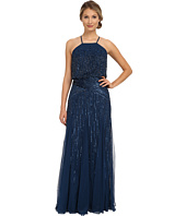 Adrianna Papell - Halter Fully Beaded Godet Gown