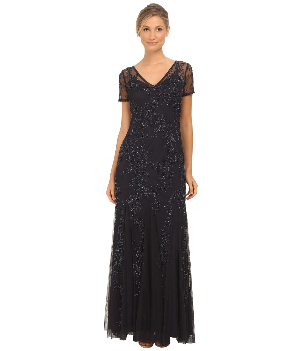 Adrianna Papell - Fully Beaded Gowns with Godets Navy Womens Dress $329.00 AT vintagedancer.com
